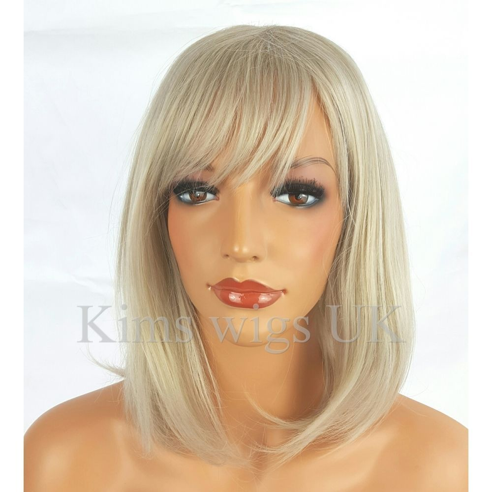 Becca Light Silver Grey Shoulder Length Layered Bob Wig