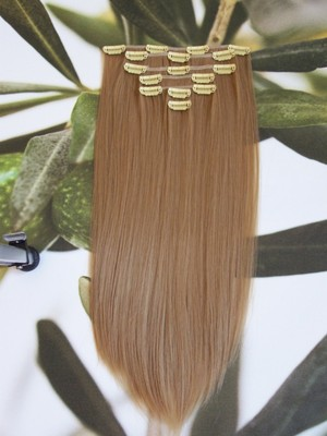 "FULL HEAD 16"" CLIP HAIR EXTENSIONS  HONEY BLONDE #24H"