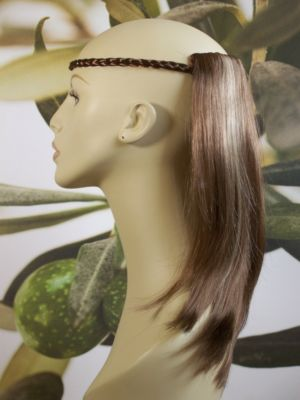 "LIGHT BROWN/HIGHLIGHTS 1 PIECE HAIR EXTENSION 14"" LONG"