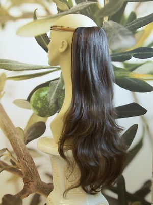 "MEDIUM BROWN 1 PIECE HAIR EXTENSION 25"" LONG"
