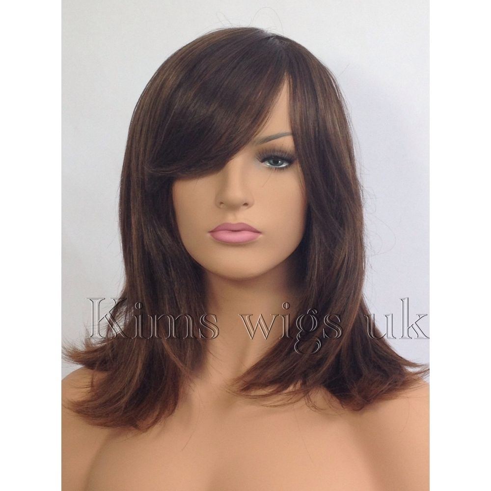 SHERIDAN: TWO TONE BROWN HEAT RESISTANT SHOULDER LENGTH FACE FRAME WIG